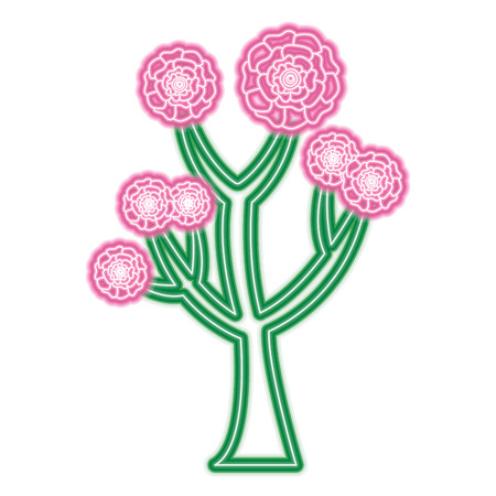 beautiful tree with flowers carnation decoration vector illustration neon pink and green line design Illustration