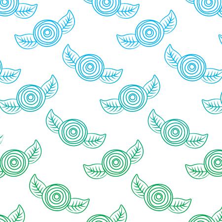 패턴 장식 꽃 카네이션과 나뭇잎 배경. 벡터 일러스트 레이 션, 선 색 디자인을 저하.