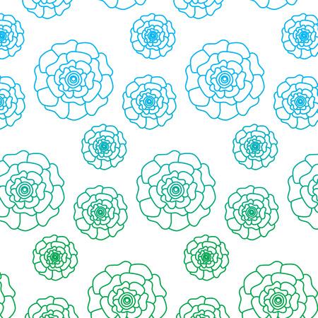 flowers bloom floral natural pattern decoration vector illustration degrade line color design