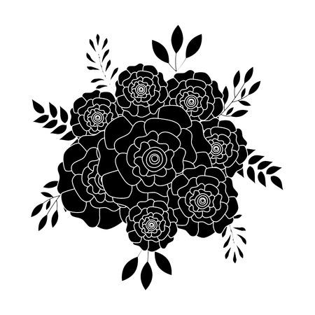 잎 장식으로 카네이션 꽃의 무리입니다. 벡터 일러스트 레이 션 픽토그램 디자인.