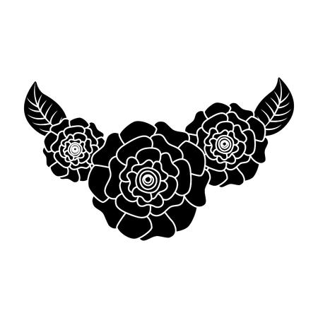 cute fresh natural flowers carnation leaves vector illustration pictogram design Stock Vector - 96506244