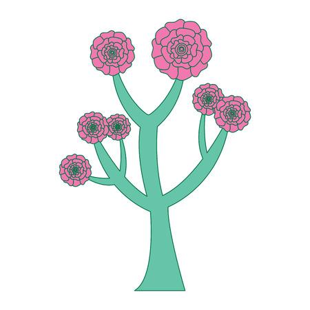 꽃 카네이션 장식 벡터 일러스트와 함께 아름 다운 나무 분홍색과 녹색 디자인