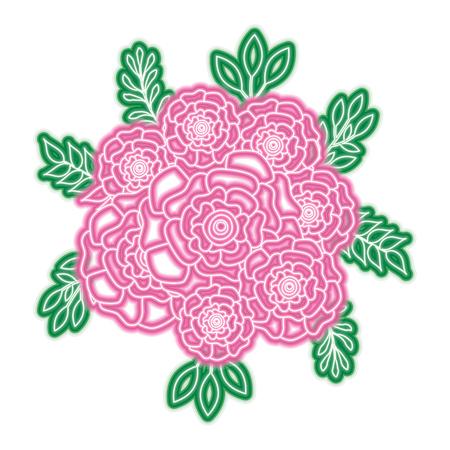 무리 꽃 카네이션 나뭇잎 oranement 벡터 일러스트 레이 션 네온 핑크와 그린 라인 디자인