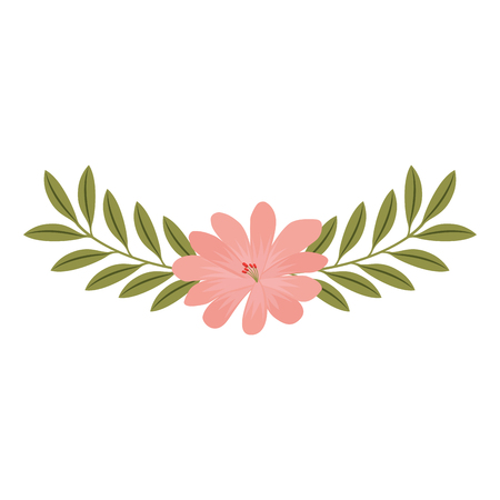 cute flower and branch with leaves foliage decoration vector illustration