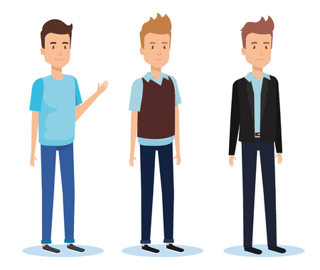 Group of young men standing with different clothing style vector illustration design