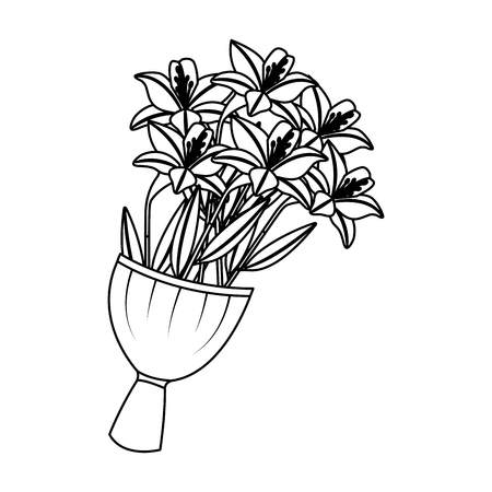 elegance delicate bouquet lilies flowers wrapped vector illustration outline desing Иллюстрация