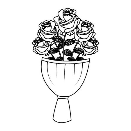 elegance delicate bouquet roses flowers wrapped vector illustration outline desing