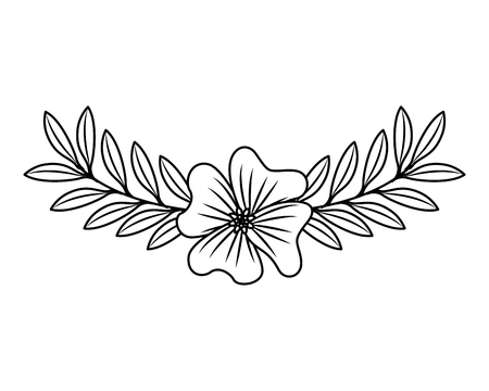 cute flower periwinkle and branch with leaves foliage decoration vector illustration outline desing Illustration