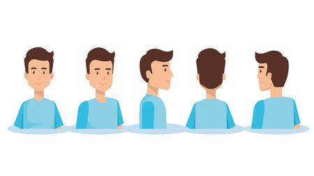 ensemble de jeune homme face différentes directions vector illustration design Vecteurs