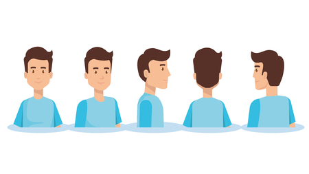 Set of young man facing different directions vector illustration design.