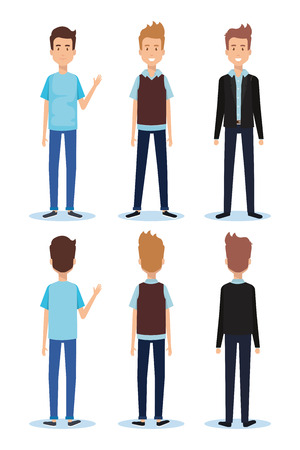 Set of young men facing different directions vector illustration design. Illustration