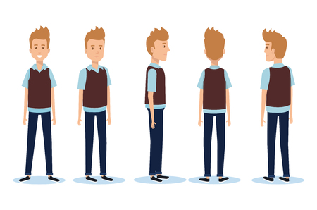 Set of young men facing different directions vector illustration design. Иллюстрация
