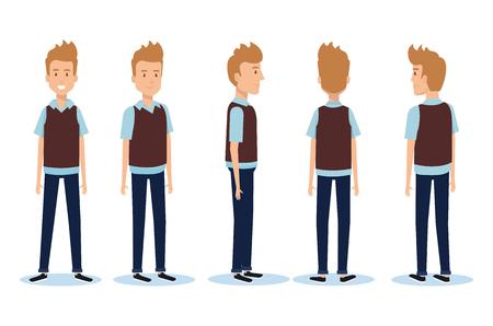 Set of young men facing different directions vector illustration design. Illustration