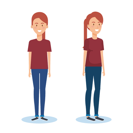 Set of young woman standing and smiling vector illustration design.