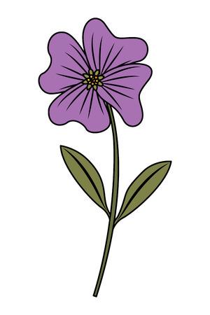 かわいい花のペリウィンクルの花びらが茎アイコンベクトルイラストを残します  イラスト・ベクター素材