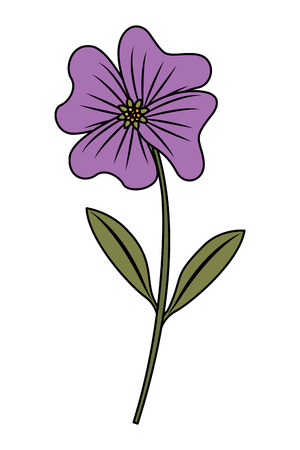 Cute flower periwinkle petals leaves stem icon vector illustration