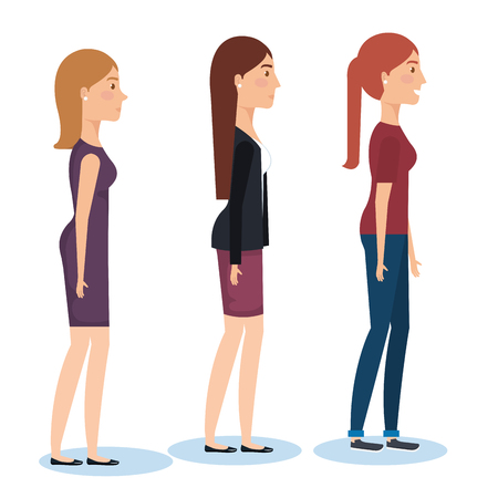 Group of young women standing, side view vector illustration design