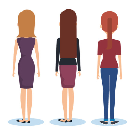 Group of young women facing the back vector illustration design