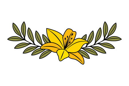cute flower lily and branch with leaves foliage decoration vector illustration