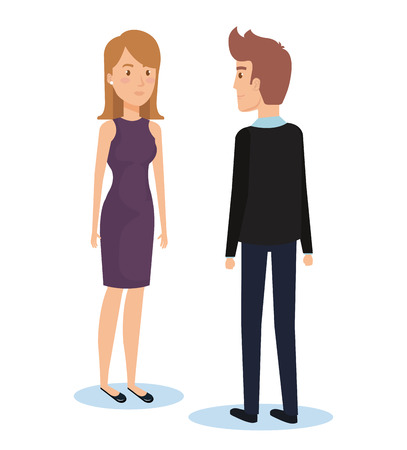 Young couple facing each other vector illustration design Illustration