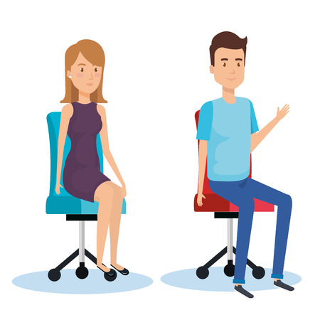 Young people sitting in the office chair vector illustration design Illustration