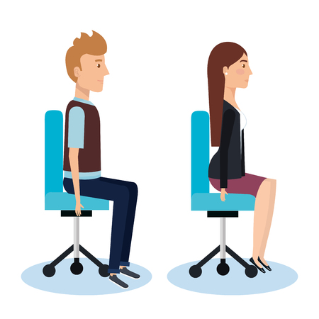 Young people sitting in the office chair, side view vector illustration design