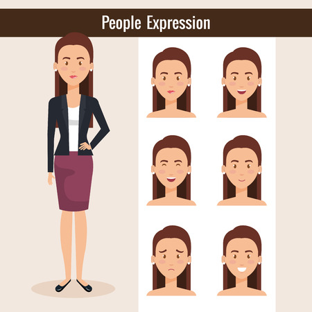 A beautiful lady with set of expressions vector illustration design