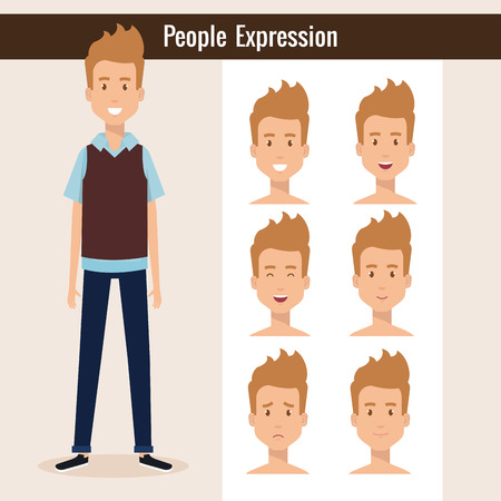 Young man with set expression vector illustration design.