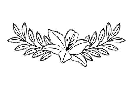 かわいい花ユリと葉の葉の装飾ベクトルイラストスケッチ画像と枝