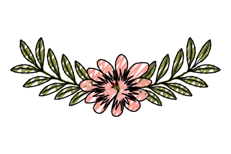 cute flower and branch with leaves foliage decoration vector illustration drawing image