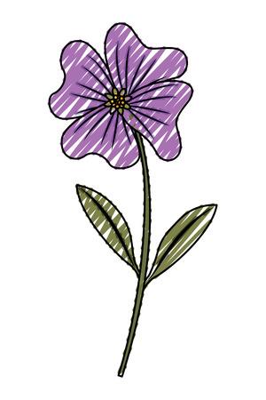 かわいい花のペリウィンクルの花びらは、ステムアイコンベクトルイラスト描画画像を残します