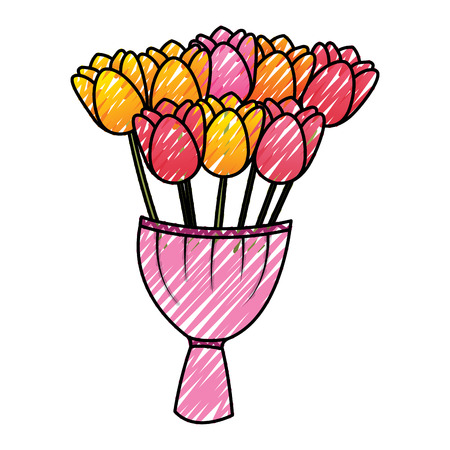 elegance delicate bouquet tulips flowers wrapped vector illustration drawing image  イラスト・ベクター素材