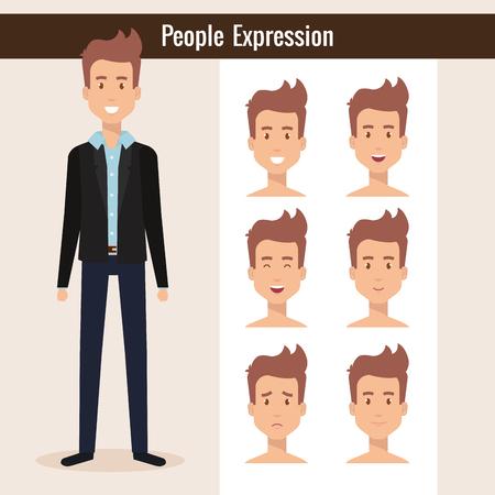 Young man with set expression vector illustration design Illustration