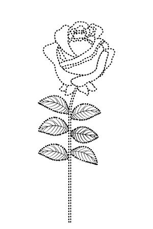 Delicate flower rose stem leaves nature decoration vector illustration dotted line image 일러스트