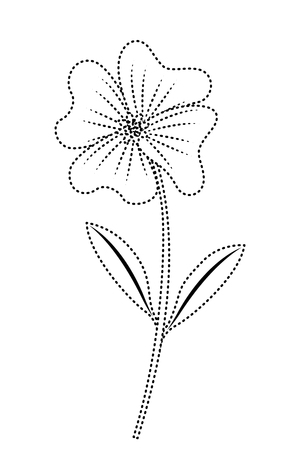 cute flower periwinkle petals leaves stem icon vector illustration dotted line image