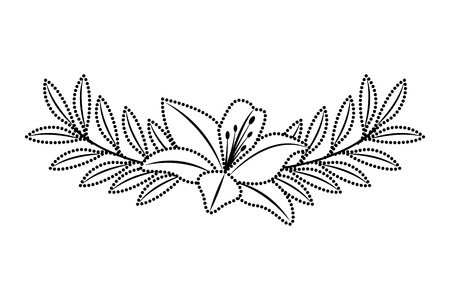 Cute flower lily and branch with leaves foliage decoration vector illustration dotted line image