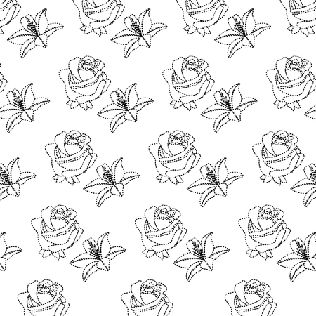 Rose and lily flower decorative pattern background vector illustration Ilustracja