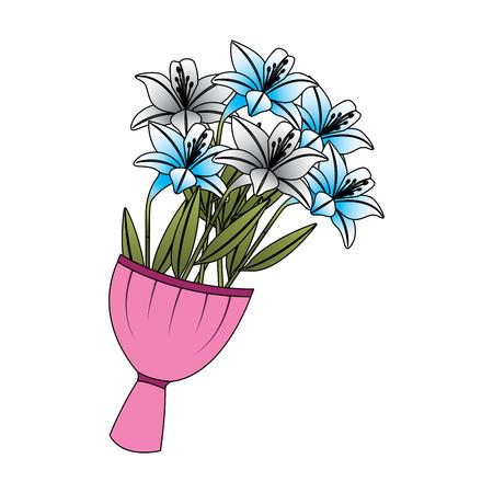 優雅な繊細なブーケユリの花を包んだベクターイラスト