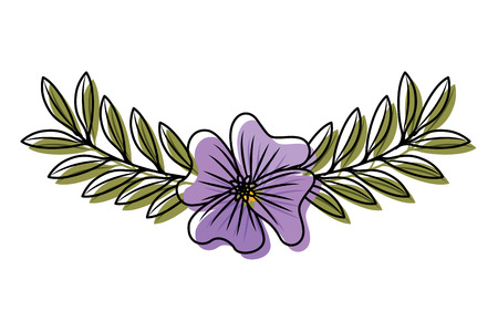 Cute flower periwinkle and branch with leaves foliage decoration vector illustration