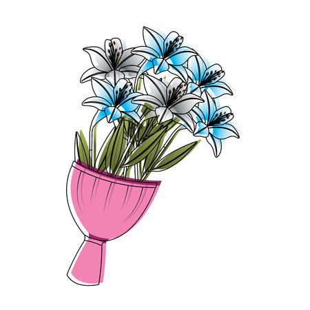 エレガンス繊細なブーケユリの花はベクターイラストを包みました