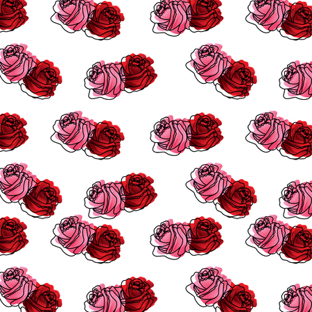 Red and pink roses flower ornament pattern vector illustration