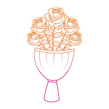 Elegance bouquet of roses vector illustration Illustration