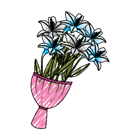 Elegance delicate bouquet lilies flowers wrapped vector illustration drawing image