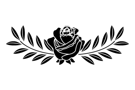 cute flower rose and branch with leaves foliage decoration vector illustration black image
