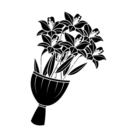 Elegance delicate bouquet lilies flowers wrapped vector illustration black image