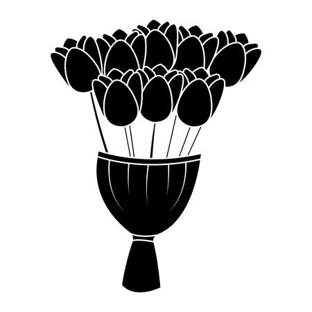 elegance delicate bouquet tulips flowers wrapped vector illustration black image