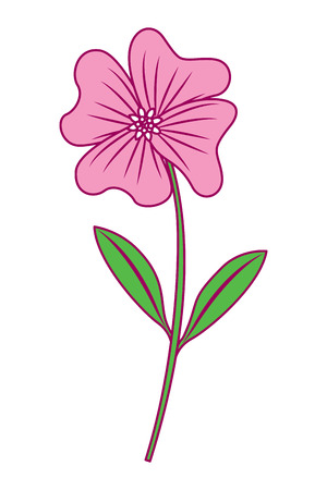 A cute flower periwinkle petals leaves stem icon vector illustration pink and green image Illustration