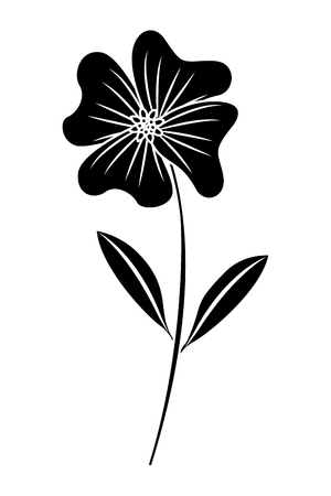 A cute flower periwinkle petals leaves stem icon vector illustration black image 向量圖像