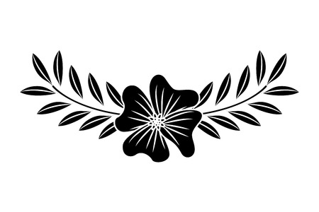A cute flower periwinkle and branch with leaves foliage decoration vector illustration black image