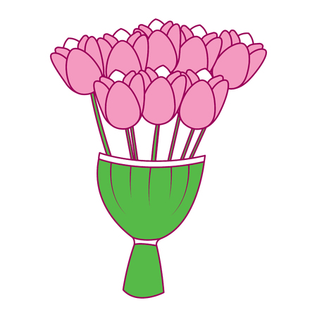 A elegance delicate bouquet tulips flowers wrapped vector illustration pink and green image